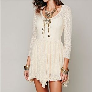 Free People Long Sleeve Lace Floral Dress